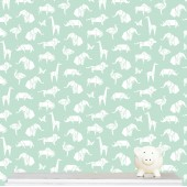 """Origami Animals"" wallpaper -  mint"